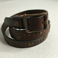 Dockers Vintage Brown Leather w/Hand Stitched Flowers 3/4 Inch Lady's Belt Sz L