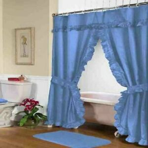"Carnation Home ""Lauren"" Double Swag Shower Curtain Light Blue"