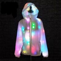 Felpa led giacca bianc luminosa con cappuccio luci colorate hip hop ballo unisex