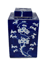 Beautiful Blue and White Cherry Blossom Porcelain Square Tea Caddy 12""