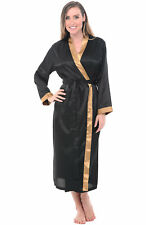Alexander Del Rossa Womens Black Satin Robe, Full Length Dressing Gown SM