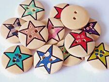 15 Botones Madera Redondo Estrella 20mm-Artesanía-Sewing-scrapbooking 3 para 2 Oferta