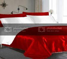 New Arrival 5 PC Double Red & White Satin Reversible Duvet Cover Set D-3