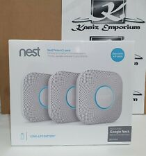 **BNIB** Google Nest Protect Smoke + Carbon Monoxide Alarm, Battery, Pack of 3