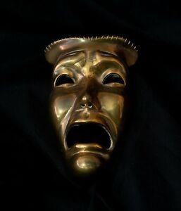 Vintage brass  Sock & Buskin Thalia & Melpomene Comedy & Tragedy masks theatre
