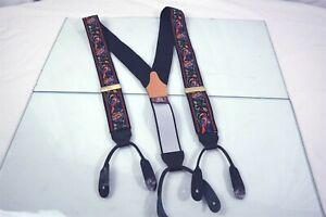 J Press Embroidered Birds Flowers Mens Luxury Leather Adjustable Suspenders