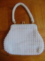 Vtg White Beaded Purse-Wedding-No Stains-White Beads-Very Clean