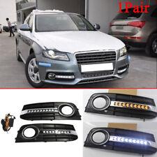 For Audi A4 B8 Sedan 09-11 White LED Daytime Day Fog Light DRL With Turn Signal