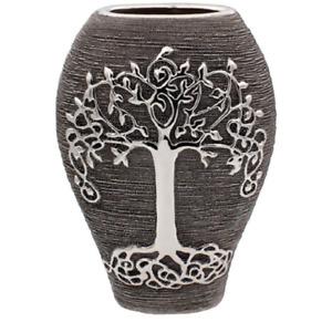 Lesser and Pavey Gunmetal Finish Tree of Life Design Ceramic Oval Vase - 20cm