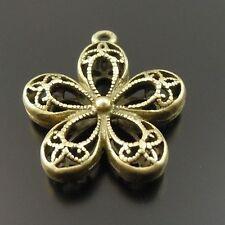 8pcs Antique Style Bronze Tone Flower Shaped Copper Pendants 18*18*5 mm 33249