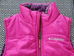 Punch Pink Columbia Youth Girls Ice Chips II Reversible Fleece Puffer Vest