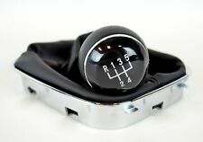 ** VW POLO V 6R 09-18 GEAR SHIFT STICK KNOB 5-SPEED BLACK GAITER CHROME  **