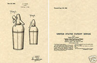 Vintage US Patent  SODA SIPHON Art Print READY TO FRAME!!!! Seltzer Bottle