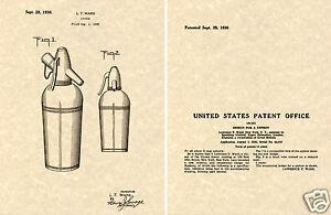 Vintage US Patent SODA SIPHON Art Print READY TO FRAME Seltzer Bottle