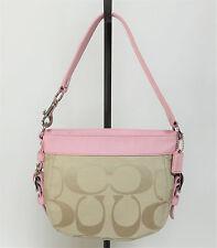 COACH F41856 Zoe Signature Jacquard Baby Pink & Khaki Small Hobo Shoulder Bag