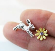 Earrings Bunny Daisy Flower Post Stud Earrings Nature Woodland Unique Girly
