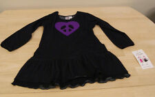 NEW Girlfriends by Anita G Denim Look Dress with Purple Peace Sign Size 4