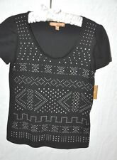 Ellen Tracy Tee T- Shirt Black Studded Cotton Size XS New with Tags SALE!