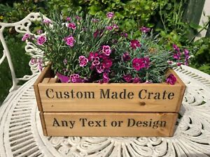 Custom Made Vintage Style Wooden Crate Any Text Or Design Wedding Storage Gift