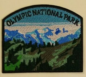 """Olympic National Park~Embroidered Patch~3 1/2"""" x 3""""~Washington~Iron or Sew On"""