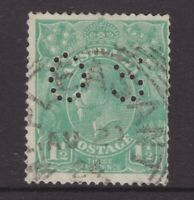 South Australia squared circle cancel on 1½d KGV OS perfin stamp