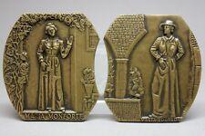 """Portuguese Writer EÇA DE QUEIROZ Set of 2 Bronze Medals/ """"OS MAIAS"""" Novel"""