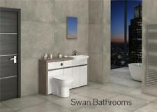 DRIFTWOOD / WHITE GLOSS BATHROOM FITTED FURNITURE 1500MM