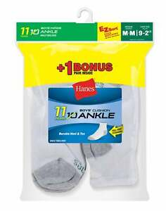 Hanes 11-Pack Boys' Ankle Socks EZ-Sort Value Ring-spun Cotton White or Black