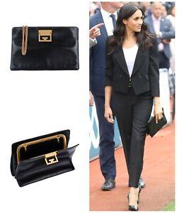RARE Black Givenchy GV3 Frame Leather Handbag Bag Clutch ASO Royal £1,690