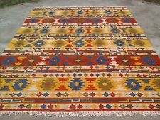 Large Hand-Woven Tribal Anatolian Kilim Turkish Oriental Wool Area Rug 9' x 12'