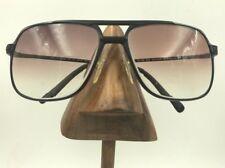 Vintage Rem Carbon Quasar Matte Black Metal Square Aviator Sunglasses Japan