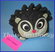 LUV BETSEY Betsey Johnson HEDGEHOG w SILVER GLITTER FACE Cosmetic Bag NWT