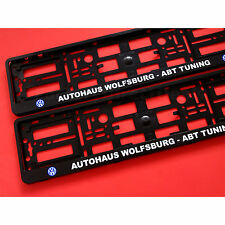 Pair Black  VW AUTOHAUS ABT TUNING Number Plate Surrounds Car Holders Frame