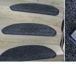 MITEX Treppenmatte Stufenmatte DURA Kräuselvelours blau - grau halbrund 60x20 cm