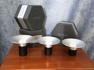 Trio Georg Jensen Ceramic Metal 'Torch' Tealight Holders - Danish Dansk Design