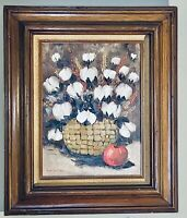 Fabulous Original Oil on Canvas Still A Life Flowers In Wooden Framed & Signed