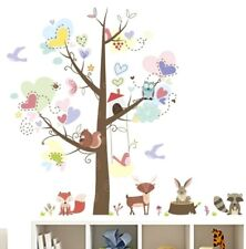 Woodland Tree & Animal Wall Decal 3D Sticker Childs Bedroom Nursery Playroom