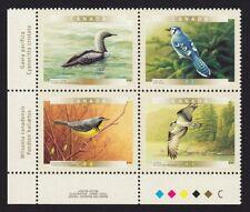 OSPREY, BLUE JAY, LOON, WARBLER = BIRDS = Canada 2000 #1842a MNH LL PLATE Block