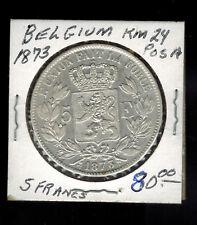 1873 Belgium 5 Francs Coin  # KM 24 Pos A