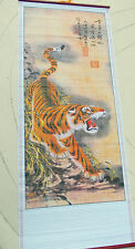 CHINESE WALL HANGING of TIGER--- CANE,WOOD ,BAMBOO 78cm x 31cm