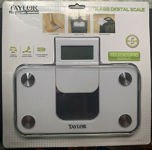 Taylor 7086 WHITE Electronic Scale Compact Travel Digital Personal Glass SCALE