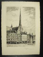 Gravur Xx E Kirche Platz Du Martroi Pithiviers Unterzeichnet Am Bleistift Von