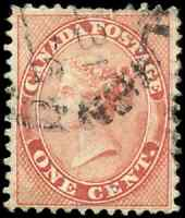 Canada #14 used F-VF 1859 First Cents 1c rose Queen Victoria CDS CV$80.00