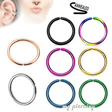 2pcs Anodized Steel Annealed Seamless Ear Cartilage Labret Septum Nose Hoop Ring