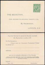Gb kg5 Downey Cabeza 1913 Sin Usar Perfin sobre respuesta pagada Tarjeta civil Servicio Co Op