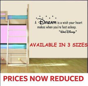 HOT Disney Quotes Wall Art Stickers Decals A DREAM is a wish your heart Quote