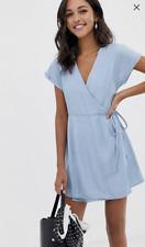 Denim Wrap-Dress, Light-Wash Blue, By ASOS Design,Responsible Materials, Size 8