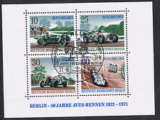 BERLIN GERMANY 1971 MSB395 50th Avus Motor-racing Mini Sheet - Special Cancel
