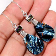 Pietersite - Namibia & Rainbow Topaz 925 Silver Earrings Jewelry AE166240