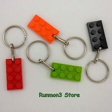 Key Rings w/ Lego Plate Pendant U-Pick Lot Size 1 Each: Black, Lime, Orange, Red